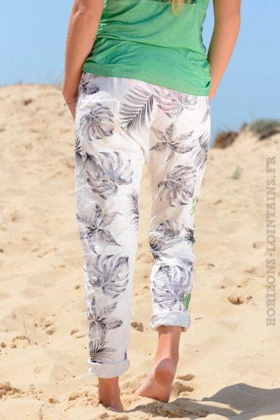 Pantalon-confort-bande-élastique-motif-exotique-gris-b36