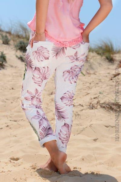 Pantalon-confort-bande-élastique-motif-exotique-rose-B36-3