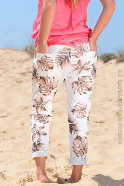 Pantalon-confort-bande-élastique-motif-exotique-taupe-B36