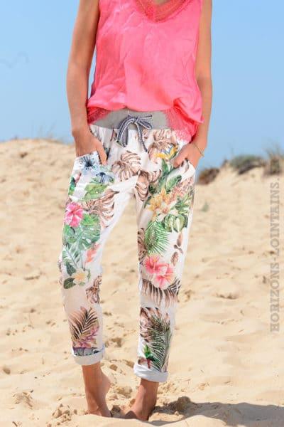 Pantalon-confort-bande-élastique-motif-exotique-taupe-B36-8