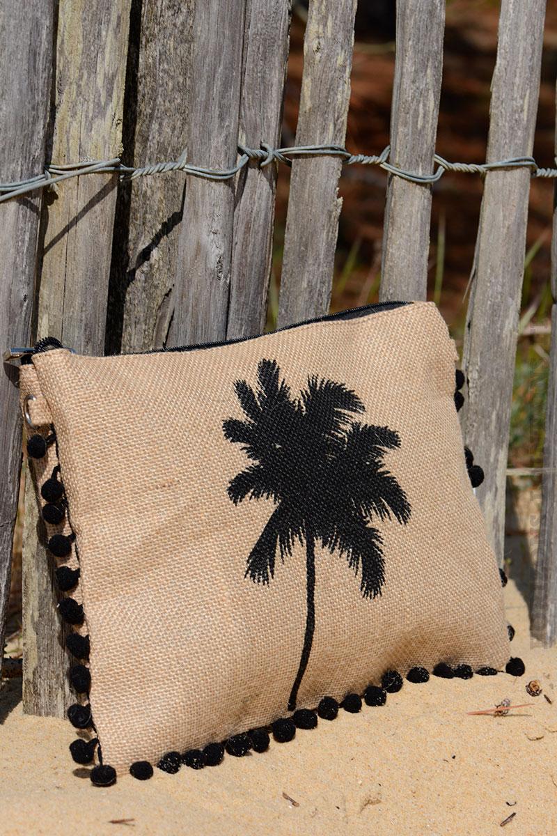 pochette en toile de jute avec palmier et pompons noir horizons lointains. Black Bedroom Furniture Sets. Home Design Ideas