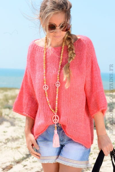 Pull framboise manches 3/4, mailles
