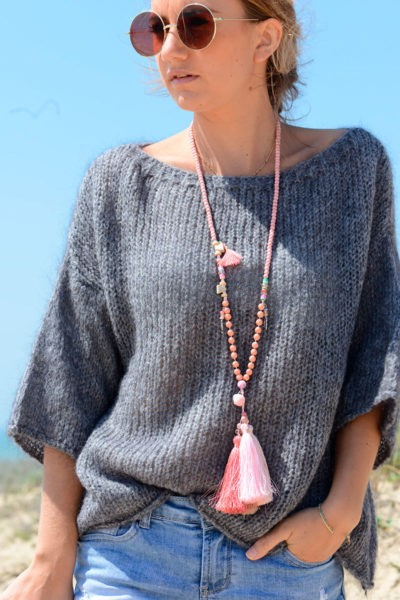 Pull gris manches 3/4, mailles
