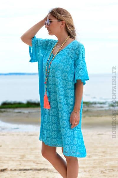 Robe-bleu-turquoise-dentelle-col-V-avec-lacet--b35