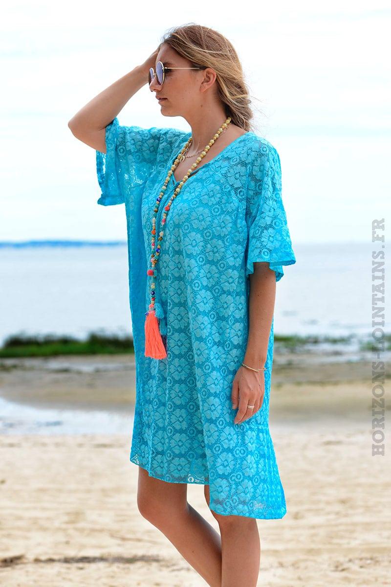 7fe80b63e99 Robe bleu turquoise dentelle col V avec lacet - Horizons Lointains