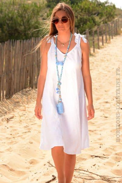 Robe-lin-blanche,-petites-bretelles-nœud-b37