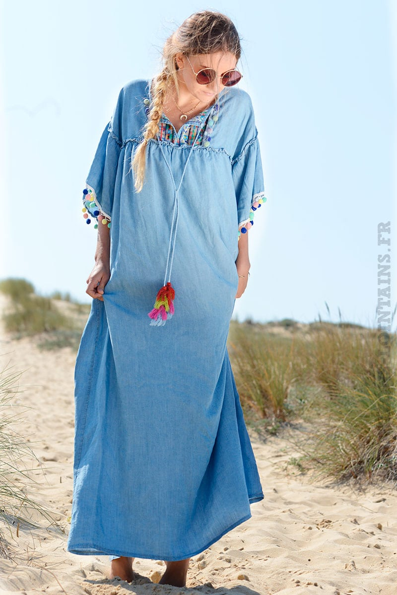 Longue Lointains Bleu Horizons Robe Jean Pompons Avec Fluide u3lTKcFJ1