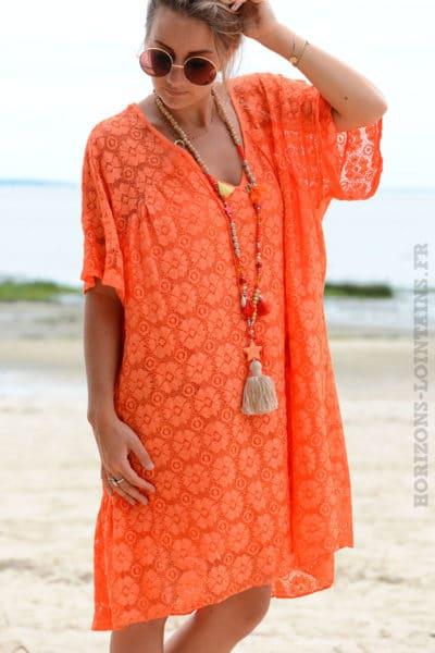 Robe-orange-dentelle-col-V-avec-lacet--b35