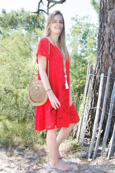 Robe-rouge-dentelle-manches-courtes-lacet-col-B36-5