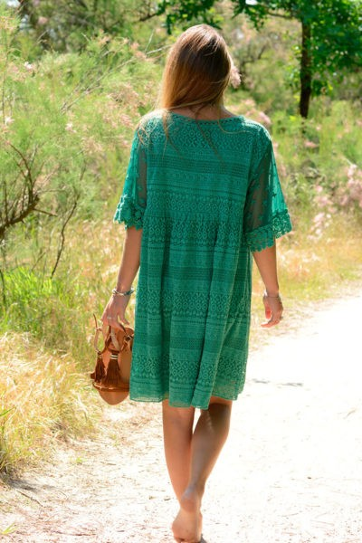 Robe vert anglais dentelle col lace up