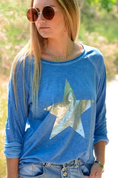 T-Shirt-bleu-manches-longues-étoile-argentée-B114