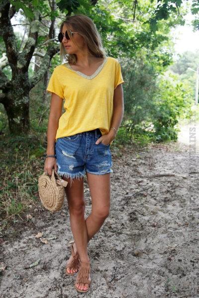 T-Shirt-jaune-col-V-brillant-devant-et-dos--b116-3