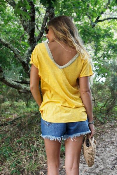 T-Shirt-jaune-col-V-brillant-devant-et-dos-b116-4