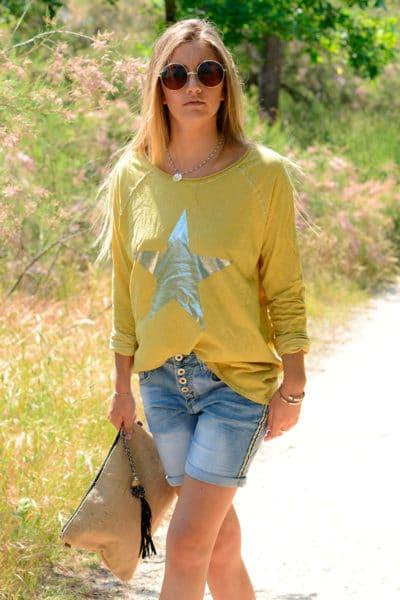 T-Shirt-moutarde-manches-longues-étoile-argentée-B114