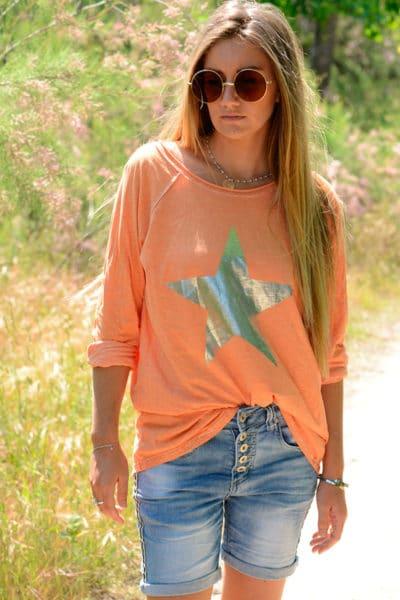 T-Shirt-orange-manches-longues-étoile-argentée-B114