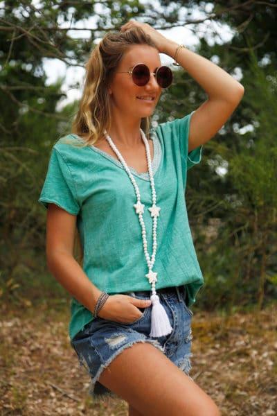 T-Shirt-vert-col-V-brillant-devant-et-dos-b116-6