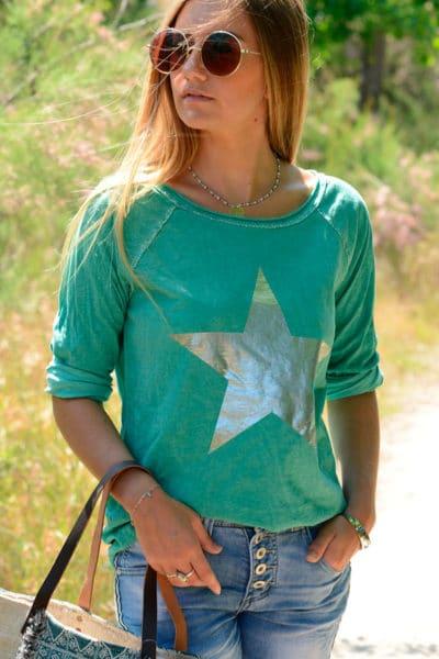T-Shirt-vert-manches-longues-étoile-argentée-B114