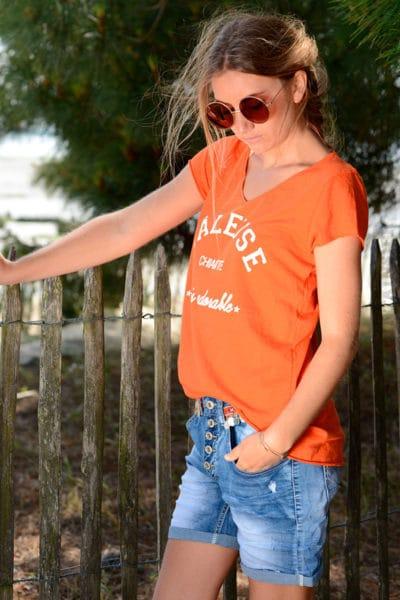T-shirt-orange-message-raleuse-chiante-mais-adorable-b151-2