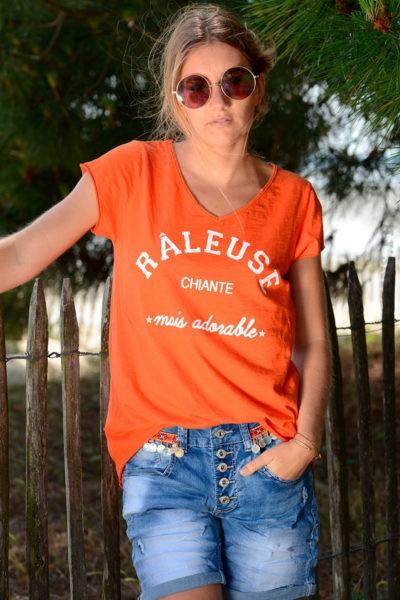 T-shirt-orange-message-raleuse-chiante-mais-adorable-b151