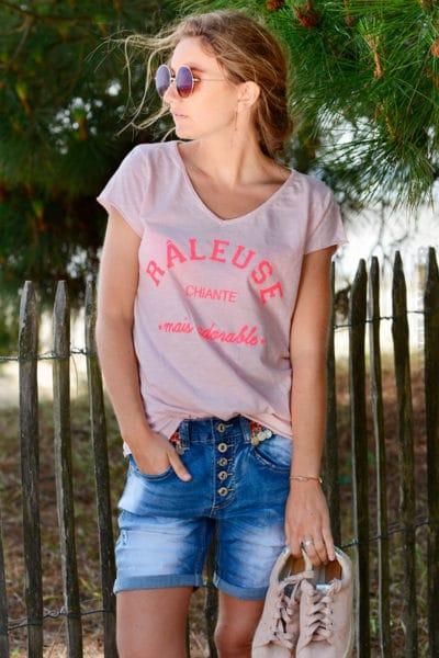 T-shirt-rose-message-raleuse-chiante-mais-adorable-B151