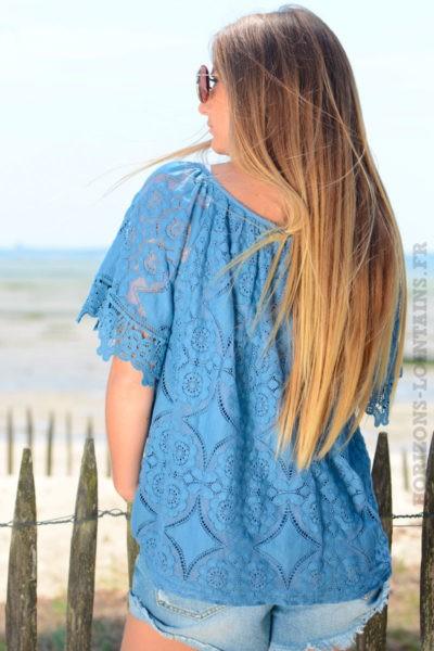 Top-bleu-jean-en-dentelle-doublé-manches-courtes-b129-2