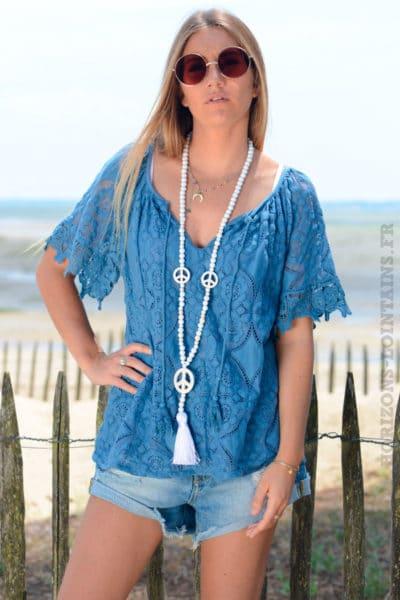 Top-bleu-jean-en-dentelle-doublé-manches-courtes-b129