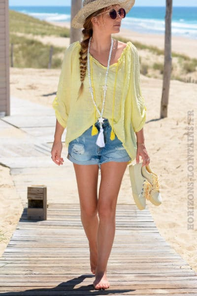 Tunique-jaune-basique-voile-de-coton--B105-3