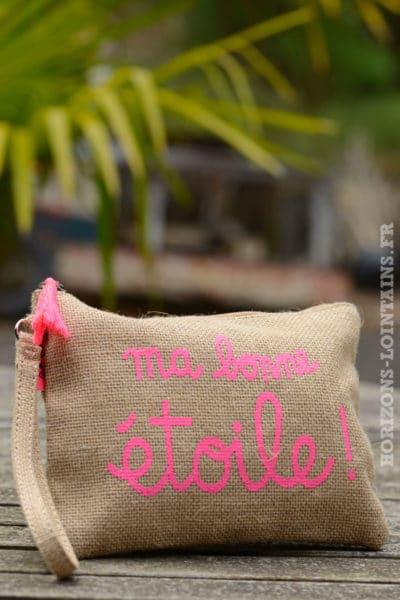 """Pochette toile de jute """"ma bonne étoile"""" rose fluo"""