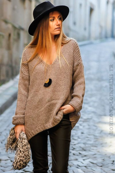 pull grosses mailles marron clair chocolat vêtement femme chaud hiver
