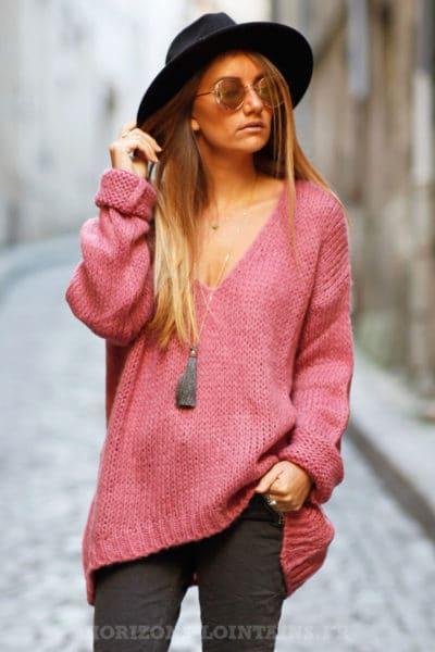 pull grosses mailles rose foncé vêtement femme chaud hiver