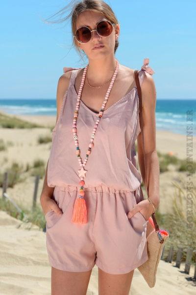 Combie-short-bretelles-avec-nœuds-rose-poudré-b1