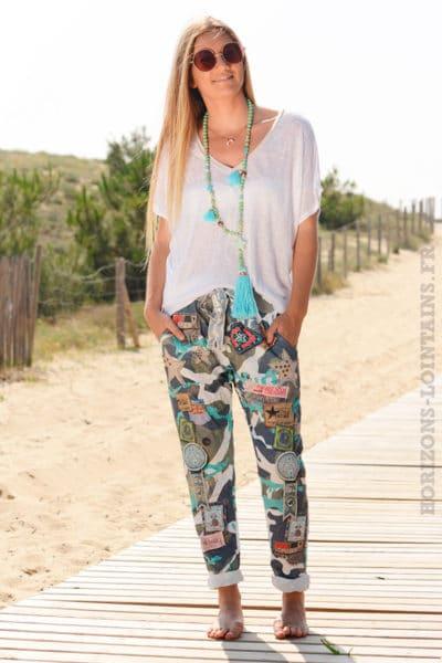 Pantalon-confort-bande-élastique-camo-turquoise-b42-5