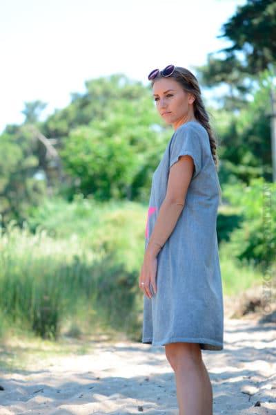 Robe-grise-façon-t-shirt-long-étoile-rose-b44-2