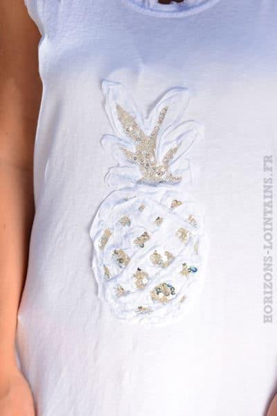 Robe-matière-t-shirt-ananas-en-sequins-blanc-B38-3