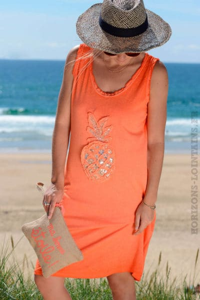 Robe-matière-t-shirt-ananas-en-sequins-orange-B38