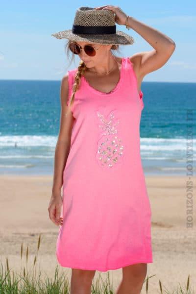 Robe-matière-t-shirt-ananas-en-sequins-rose-fluo-b38-3