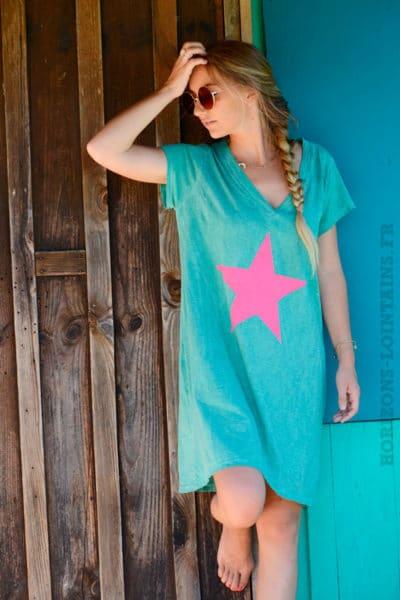 Robe-verte-façon-t-shirt-long-étoile-rose-b44-3