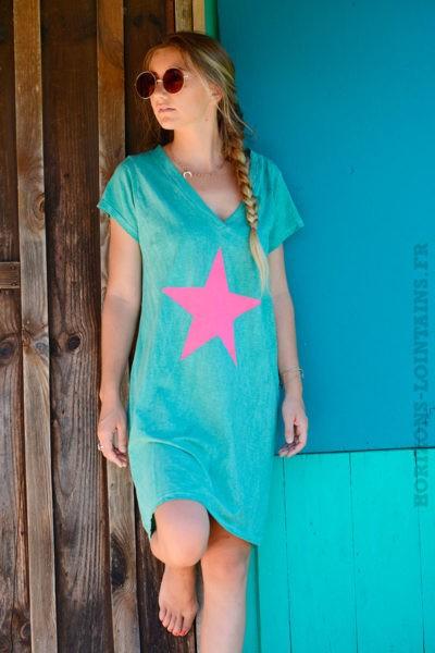 Robe-verte-façon-t-shirt-long-étoile-rose--b44
