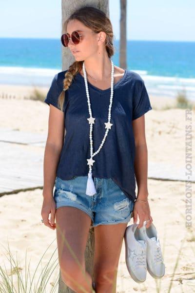 T-shirt-bleu-marine-basique-col-V-en-lin-B153-2