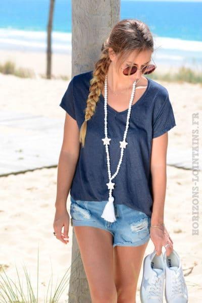T-shirt-bleu-marine-basique-col-V-en-lin-B153-3