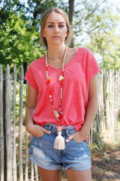 T-shirt-corail-tete-de-buffle-argentée-dans-le-dos-B150-3