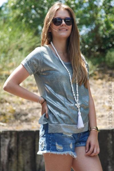T-shirt-kaki-brillant-sur-le-devant-col-rond-b139