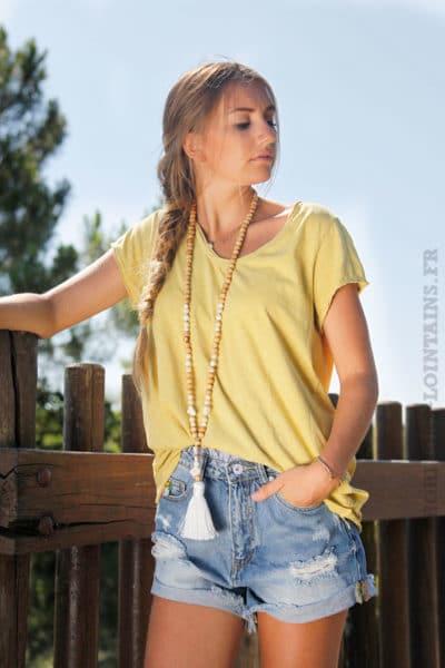 T-shirt-moutarde-tete-de-buffle-argentée-dans-le-dos-B150-3