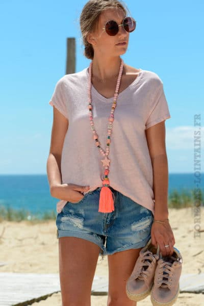 T-shirt-rose-basique-col-V-en-lin-B153