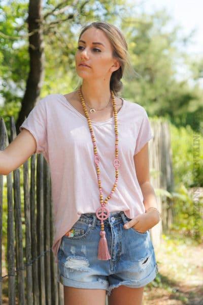 T-shirt-rose-poudre-tete-de-buffle-argentée-dans-le-dos--B150-2