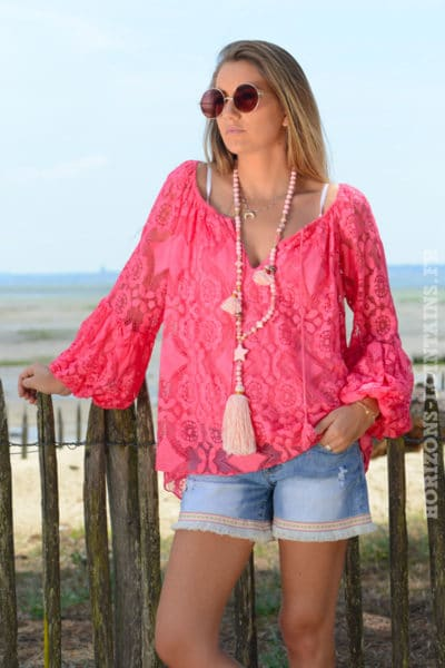 Top-B036-blouse-brodee-manches---bouffantes-framboise