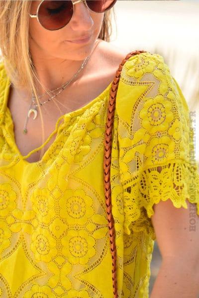 Top-jaune-moutarde-en-dentelle-doublé-manches-courtes-b129