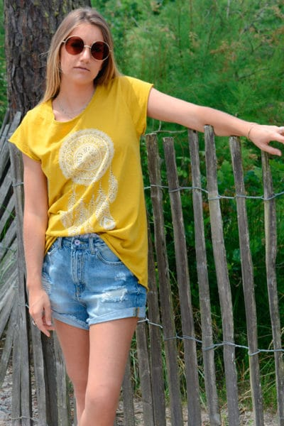 Tshirt-jaune-moutarde-dreamcatcher-b145