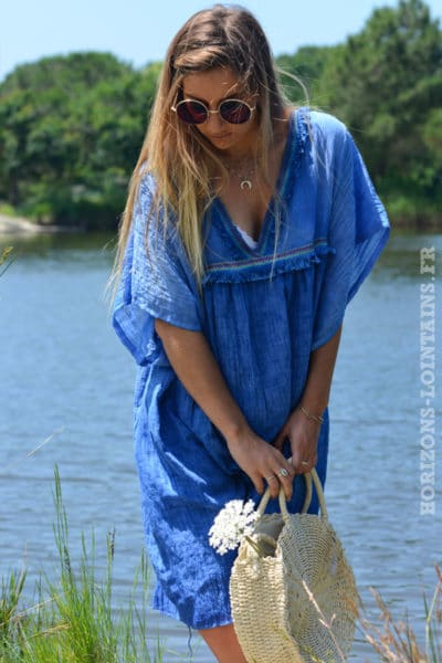 robe-B043-fluide-doublee-col-v-petites-frange-bleu-roi-