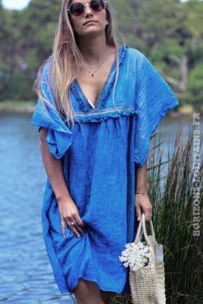 robe-B043-fluide-doublee-col-v-petites-frange-bleu-roi-steve-
